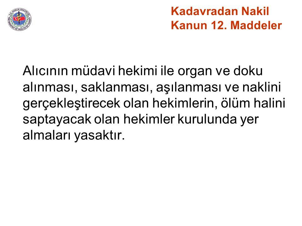 Kadavradan Nakil Kanun 12. Maddeler Alıcının müdavi hekimi ile organ ve doku alınması, saklanması, aşılanması ve naklini gerçekleştirecek olan hekimle