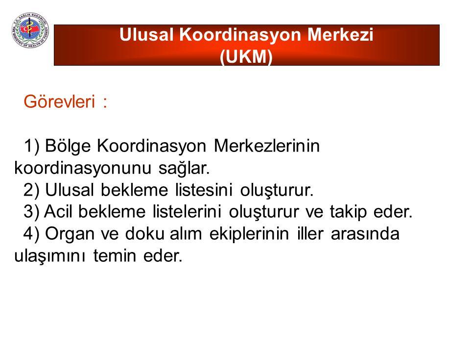 Görevleri : 1) Bölge Koordinasyon Merkezlerinin koordinasyonunu sağlar. 2) Ulusal bekleme listesini oluşturur. 3) Acil bekleme listelerini oluşturur v