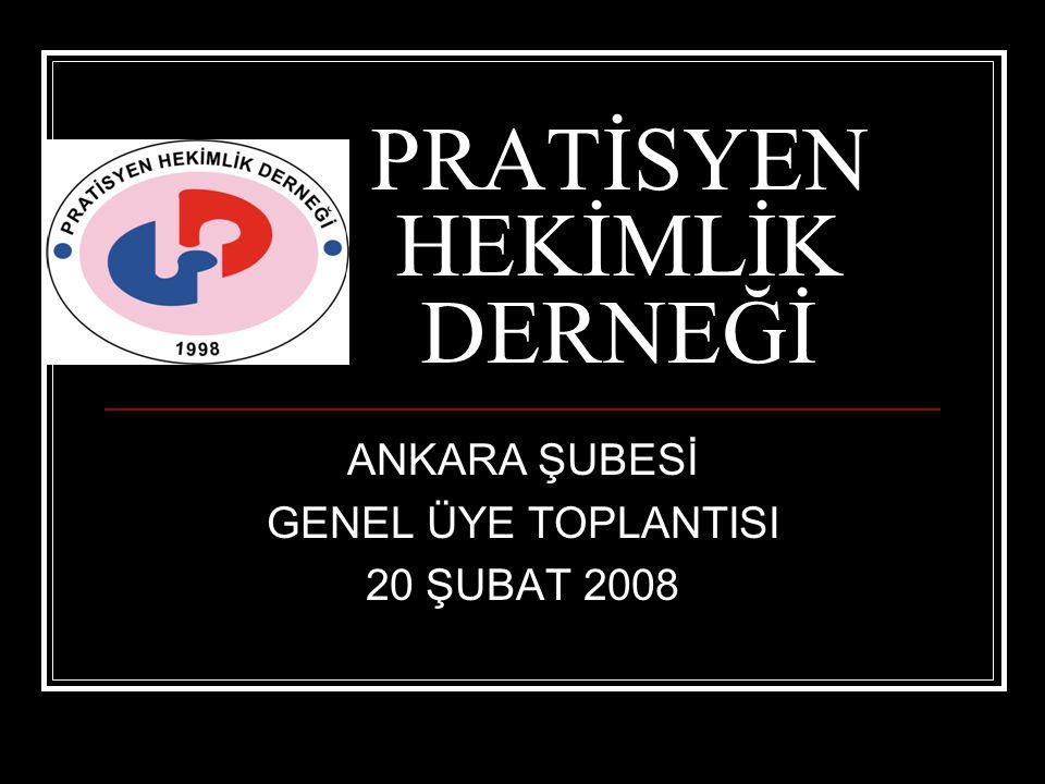 PRATİSYEN HEKİMLİK DERNEĞİ ANKARA ŞUBESİ GENEL ÜYE TOPLANTISI 20 ŞUBAT 2008