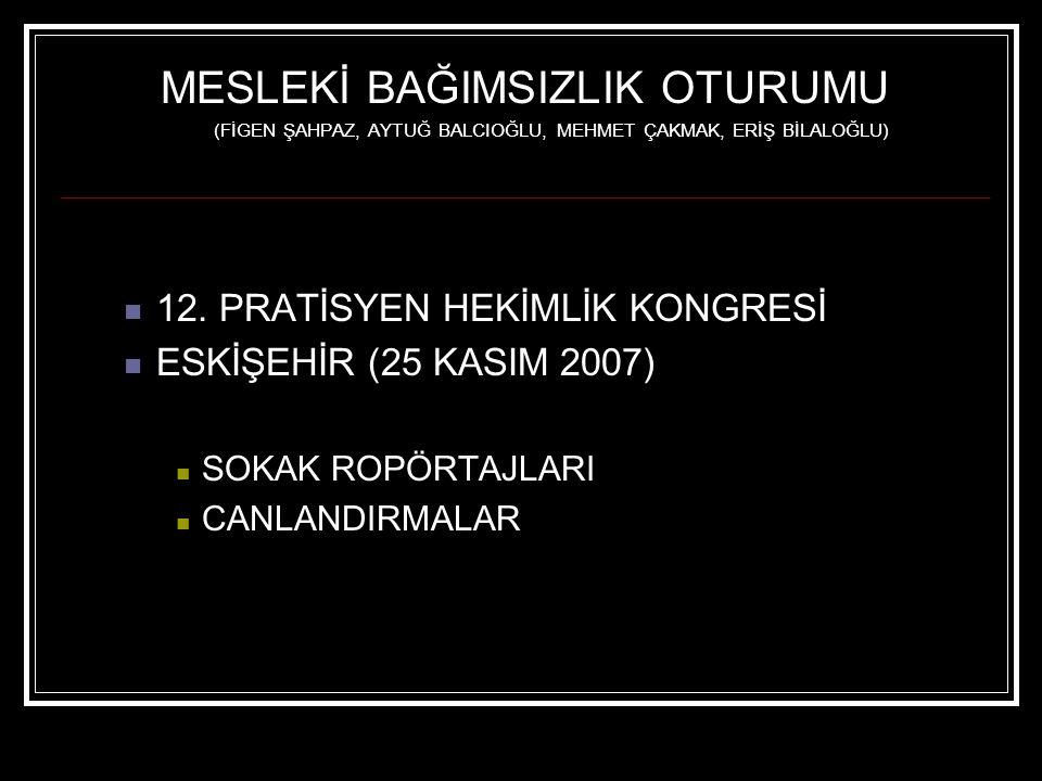 MESLEKİ BAĞIMSIZLIK OTURUMU (FİGEN ŞAHPAZ, AYTUĞ BALCIOĞLU, MEHMET ÇAKMAK, ERİŞ BİLALOĞLU) 12. PRATİSYEN HEKİMLİK KONGRESİ ESKİŞEHİR (25 KASIM 2007) S
