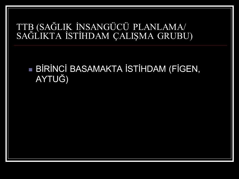TTB (SAĞLIK İNSANGÜCÜ PLANLAMA/ SAĞLIKTA İSTİHDAM ÇALIŞMA GRUBU) BİRİNCİ BASAMAKTA İSTİHDAM (FİGEN, AYTUĞ)