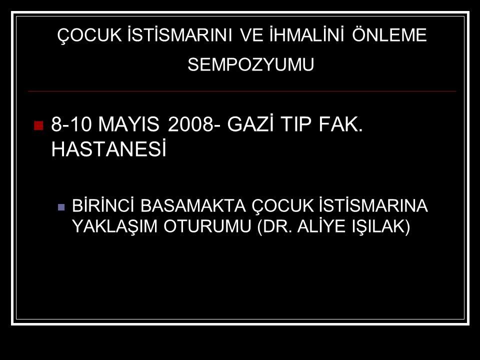 ÇOCUK İSTİSMARINI VE İHMALİNİ ÖNLEME SEMPOZYUMU 8-10 MAYIS 2008- GAZİ TIP FAK.