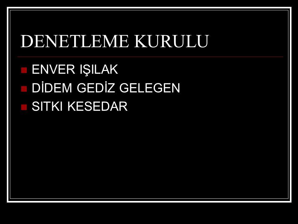 DENETLEME KURULU ENVER IŞILAK DİDEM GEDİZ GELEGEN SITKI KESEDAR