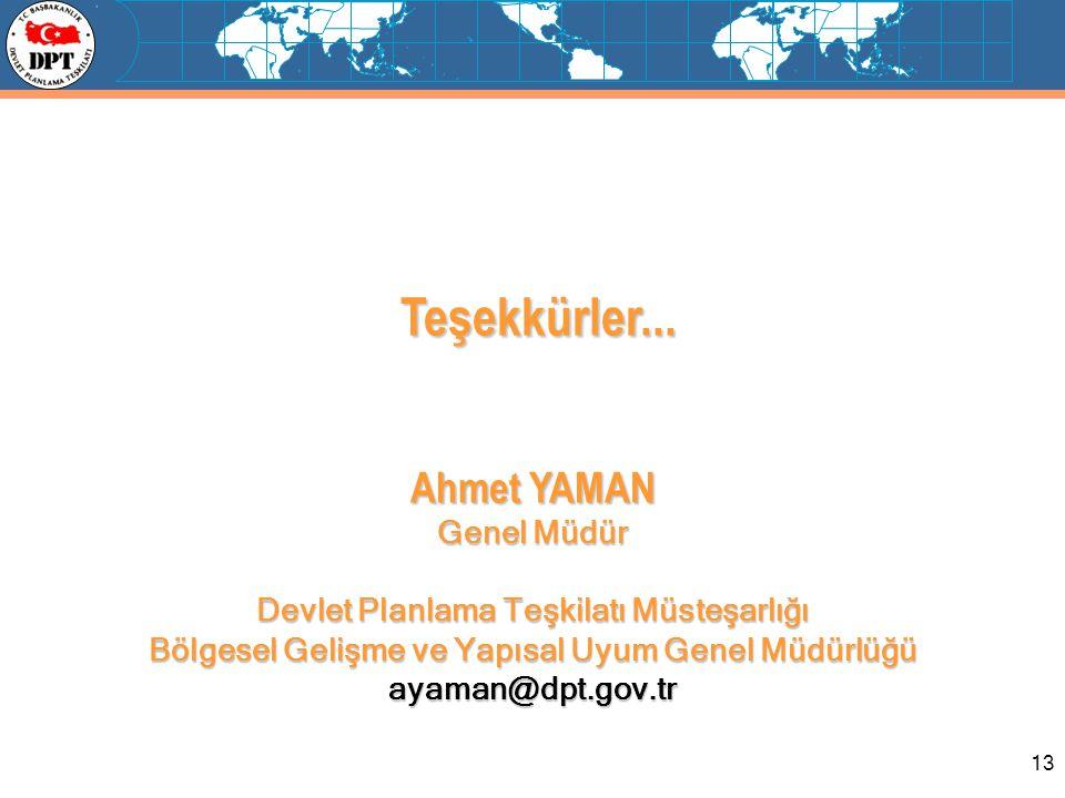 13 Teşekkürler... Teşekkürler... Ahmet YAMAN Genel Müdür Devlet Planlama Teşkilatı Müsteşarlığı Bölgesel Gelişme ve Yapısal Uyum Genel Müdürlüğü ayama