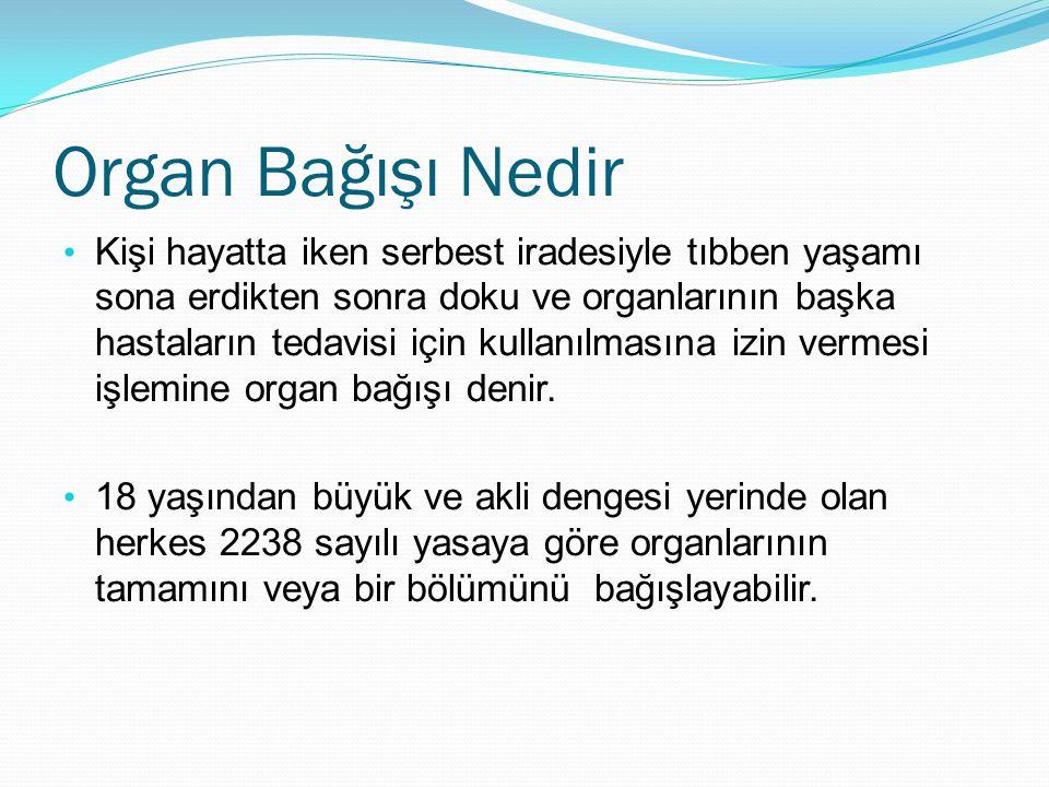 Organ Bağışı Nedir Kişi hayatta iken serbest iradesiyle tıbben yaşamı sona erdikten sonra doku ve organlarının başka hastaların tedavisi için kullanıl