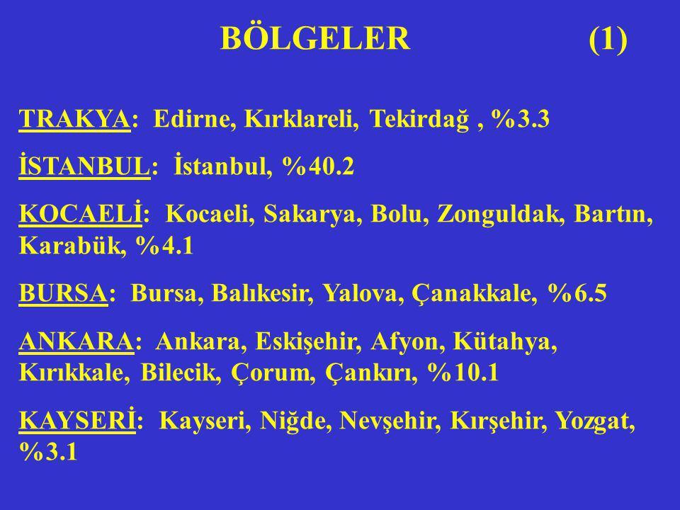 GAZİANTEP: Gaziantep, Kahramanmaraş, Adıyaman, Şanlıurfa, Malatya, Kilis; %2.6 ADANA: Adana, İçel, Hatay, Osmaniye, %2.0 KONYA: Konya, Karaman, Aksaray, %3.7 SAMSUN: Samsun, Ordu, Giresun, Trabzon, Rize, %3.2 DİĞERLERİ: %7.8 BÖLGELER (2)
