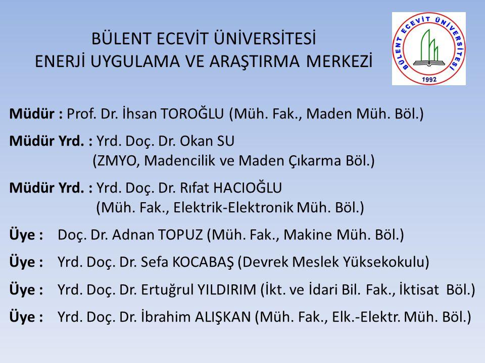 BÜLENT ECEVİT ÜNİVERSİTESİ ENERJİ UYGULAMA VE ARAŞTIRMA MERKEZİ Müdür : Prof.