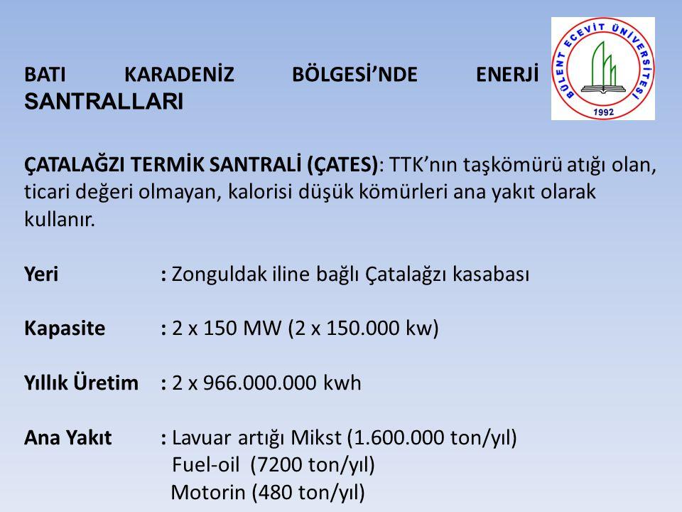 BATI KARADENİZ BÖLGESİ'NDE ENERJİ SANTRALLARI ÇATALAĞZI TERMİK SANTRALİ (ÇATES): TTK'nın taşkömürü atığı olan, ticari değeri olmayan, kalorisi düşük kömürleri ana yakıt olarak kullanır.