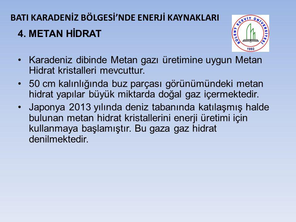 4.METAN HİDRAT Karadeniz dibinde Metan gazı üretimine uygun Metan Hidrat kristalleri mevcuttur.