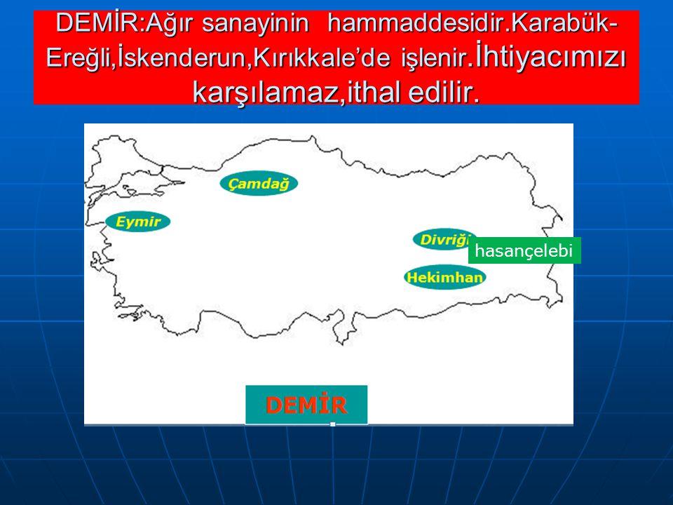 hasançelebi DEMİR:Ağır sanayinin hammaddesidir.Karabük- Ereğli,İskenderun,Kırıkkale'de işlenir.İhtiyacımızı karşılamaz,ithal edilir.