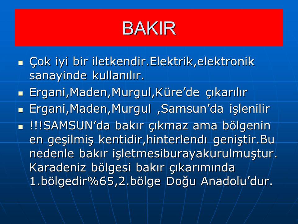 BAKIR Çok iyi bir iletkendir.Elektrik,elektronik sanayinde kullanılır. Çok iyi bir iletkendir.Elektrik,elektronik sanayinde kullanılır. Ergani,Maden,M