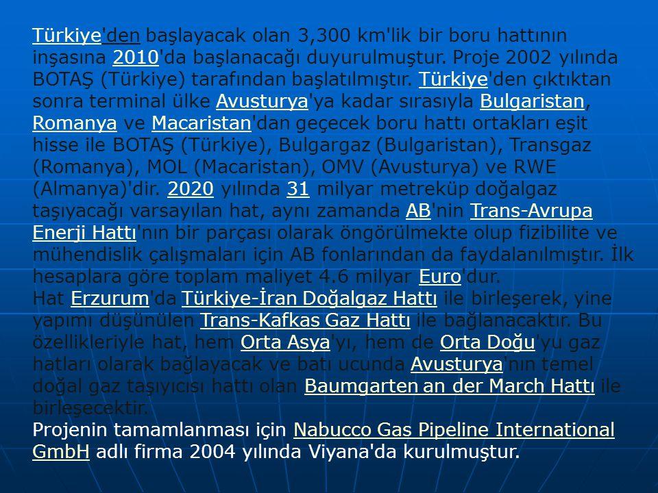 TürkiyeTürkiye'den başlayacak olan 3,300 km'lik bir boru hattının inşasına 2010'da başlanacağı duyurulmuştur. Proje 2002 yılında BOTAŞ (Türkiye) taraf