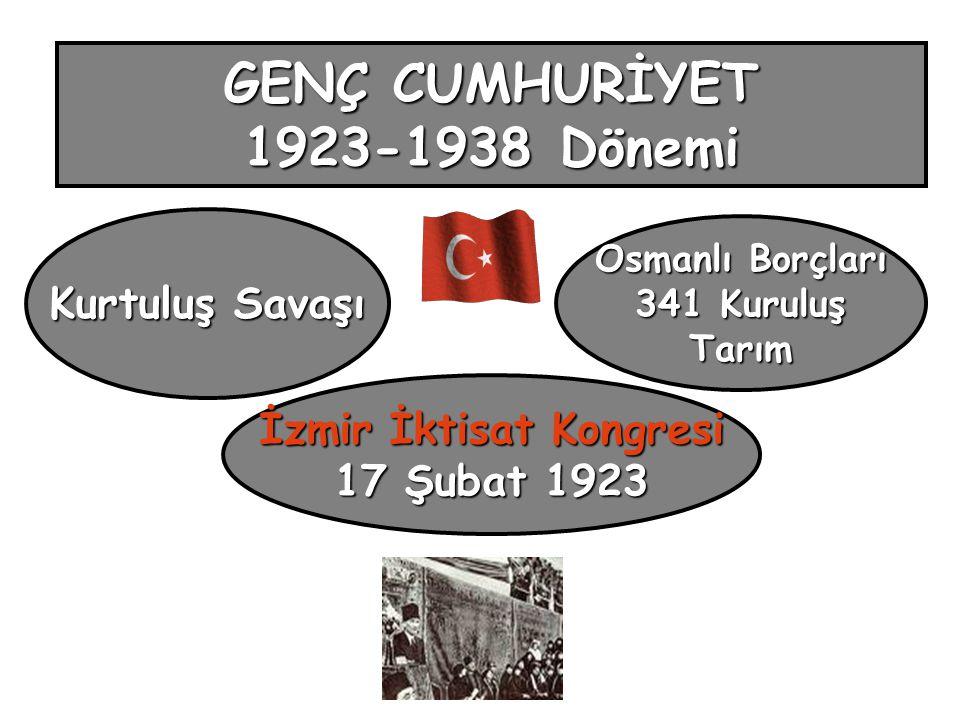 GENÇ CUMHURİYET 1923-1938 Dönemi Kurtuluş Savaşı İzmir İktisat Kongresi 17 Şubat 1923 Osmanlı Borçları 341 Kuruluş Tarım