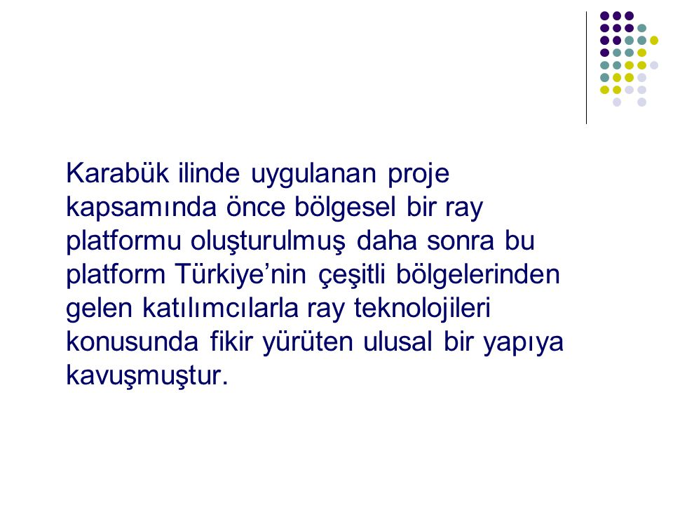Karabük ilinde uygulanan proje kapsamında önce bölgesel bir ray platformu oluşturulmuş daha sonra bu platform Türkiye'nin çeşitli bölgelerinden gelen katılımcılarla ray teknolojileri konusunda fikir yürüten ulusal bir yapıya kavuşmuştur.