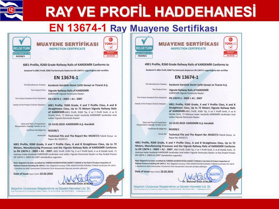 EN 13674-1 Ray Muayene Sertifikası RAY VE PROFİL HADDEHANESİ