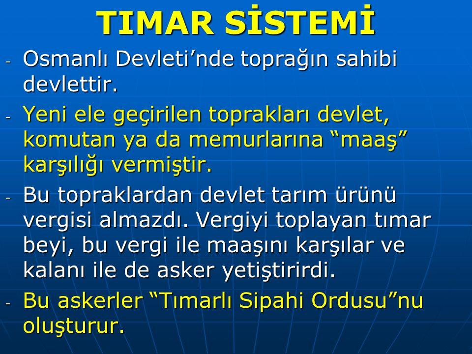 TIMAR SİSTEMİ - Osmanlı Devleti'nde toprağın sahibi devlettir.