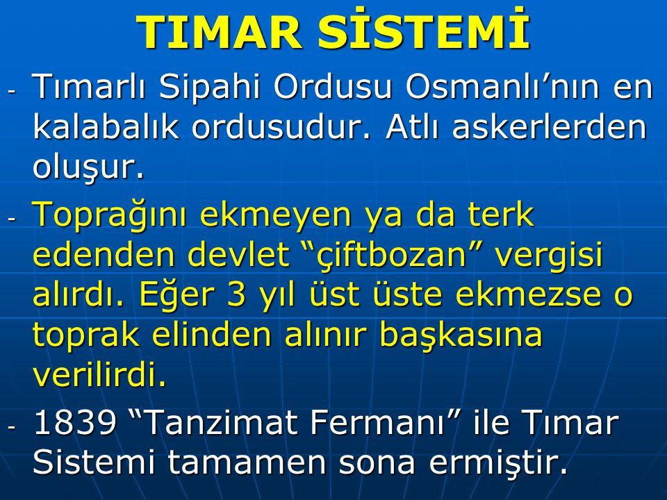 TIMAR SİSTEMİ - Tımarlı Sipahi Ordusu Osmanlı'nın en kalabalık ordusudur.