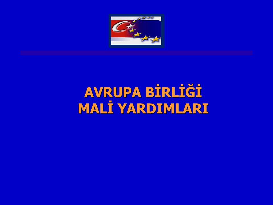 YIL ÖNCELİK ALANI PROJENİN ADIFAYDALANICI AB HİBESİ ULUSAL KATKI TOPLAM BÜTÇE (M €) 2006 İdari Kapasite TBMM'nin Kurumsal Kapasitesinin Artırılması Türkiye Büyük Millet Meclisi 10,041,04 2004 Tek Pazar/ Gümrük Birliği Türk Gümrük İdaresinin Modernizasyonu Gümrük Müsteşarlığı 22.76.128.8 2002 Ekonomik ve Sosyal Uyum Aktif İşgücü Piyasaları Projesi İŞKUR401050 2005 Ekonomik ve Sosyal Uyum Kentsel Alanlarda Ekonomik ve Sosyal Sorunların Çözümüne Destek Projesi Erzurum, Şanlıurfa, Diyarbakır ve Gaziantep Yerel İdareleri 15.03.718.7 2003 Ekonomik ve Sosyal Uyum Samsun-Kastamonu- Erzurum NUTS II Bölgesel Kalkınma Programı DPT Müsteşarlığı 4012.352.3 2006 Sivil Toplum Diyaloğu Türkiye-AB Arasında Sivil Toplum Diyaloğunun Güçlendirilmesi AB Genel Sekreterliği 21- 2002-2006 DÖNEMİNDEN BAZI PROJE ÖRNEKLERİ