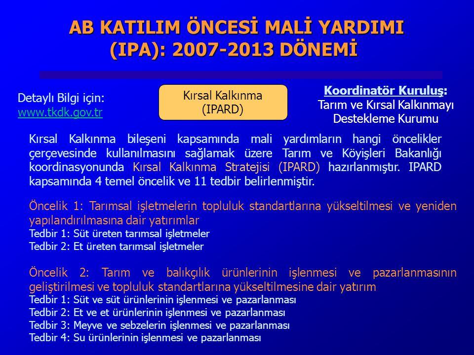 AB KATILIM ÖNCESİ MALİ YARDIMI (IPA): 2007-2013 DÖNEMİ AB KATILIM ÖNCESİ MALİ YARDIMI (IPA): 2007-2013 DÖNEMİ Kırsal Kalkınma (IPARD) Koordinatör Kuruluş: Tarım ve Kırsal Kalkınmayı Destekleme Kurumu Detaylı Bilgi için: www.tkdk.gov.tr Kırsal Kalkınma bileşeni kapsamında mali yardımların hangi öncelikler çerçevesinde kullanılmasını sağlamak üzere Tarım ve Köyişleri Bakanlığı koordinasyonunda Kırsal Kalkınma Stratejisi (IPARD) hazırlanmıştır.
