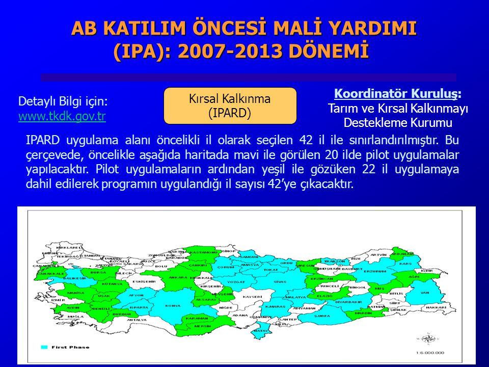 AB KATILIM ÖNCESİ MALİ YARDIMI (IPA): 2007-2013 DÖNEMİ AB KATILIM ÖNCESİ MALİ YARDIMI (IPA): 2007-2013 DÖNEMİ Kırsal Kalkınma (IPARD) Koordinatör Kuruluş: Tarım ve Kırsal Kalkınmayı Destekleme Kurumu Detaylı Bilgi için: www.tkdk.gov.tr IPARD uygulama alanı öncelikli il olarak seçilen 42 il ile sınırlandırılmıştır.