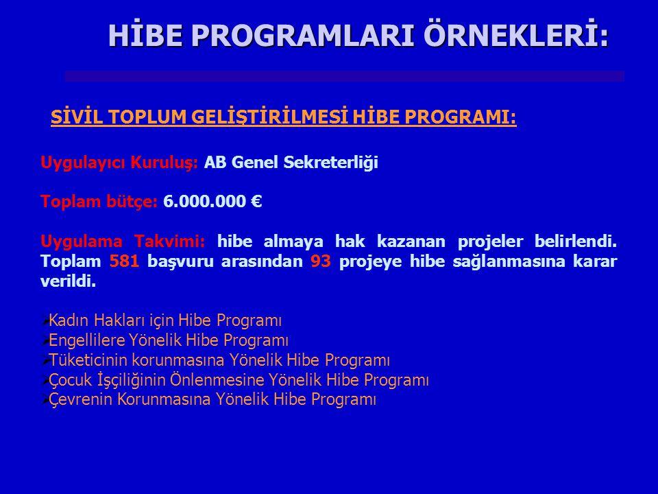 HİBE PROGRAMLARI ÖRNEKLERİ: Uygulayıcı Kuruluş: AB Genel Sekreterliği Toplam bütçe: 6.000.000 € Uygulama Takvimi: hibe almaya hak kazanan projeler belirlendi.
