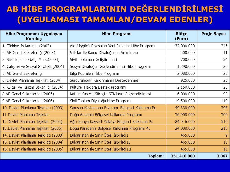 AB HİBE PROGRAMLARININ DEĞERLENDİRİLMESİ (UYGULAMASI TAMAMLAN/DEVAM EDENLER) Hibe Programını Uygulayan Kuruluş Hibe ProgramıBütçe (Euro) Proje Sayısı 1.