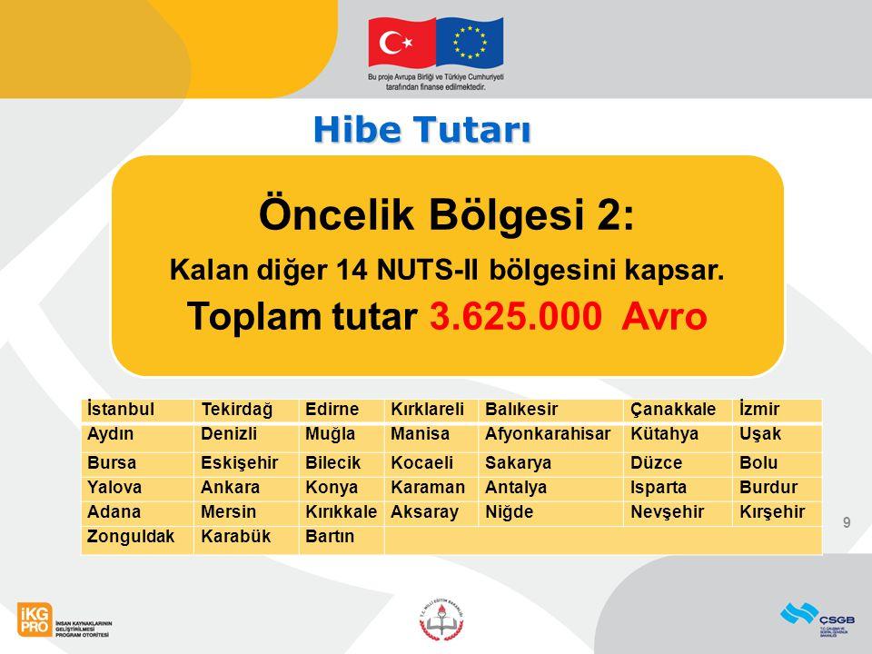 Öncelik Bölgesi 2: Kalan diğer 14 NUTS-II bölgesini kapsar. Toplam tutar 3.625.000 Avro 9 İstanbulTekirdağEdirneKırklareliBalıkesirÇanakkaleİzmir Aydı