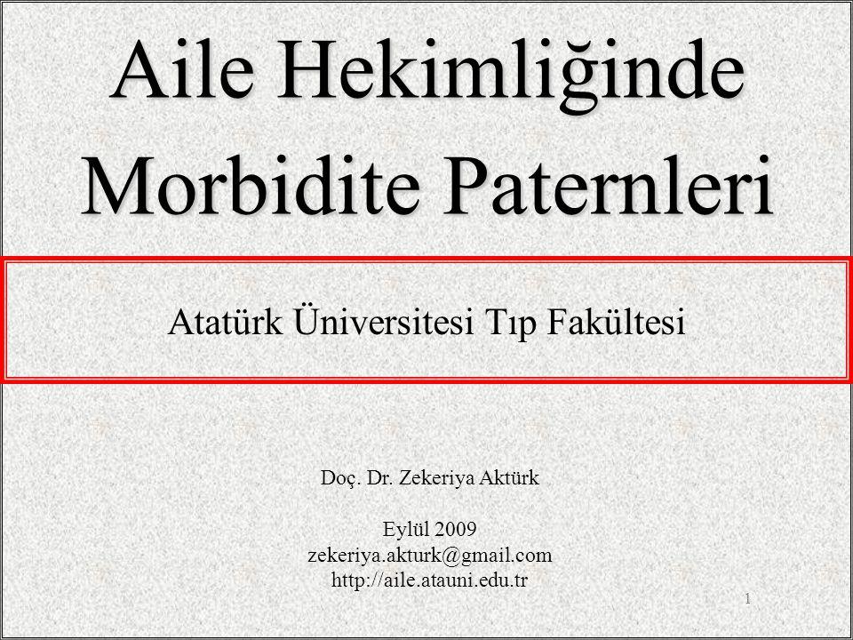 1 Aile Hekimliğinde Morbidite Paternleri Doç. Dr. Zekeriya Aktürk Eylül 2009 zekeriya.akturk@gmail.com http://aile.atauni.edu.tr Atatürk Üniversitesi