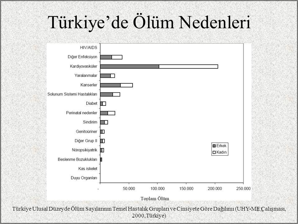 Türkiye'de Ölüm Nedenleri 32 Türkiye Ulusal Düzeyde Ölüm Sayılarının Temel Hastalık Grupları ve Cinsiyete Göre Dağılımı (UHY-ME Çalışması, 2000,Türkiye)