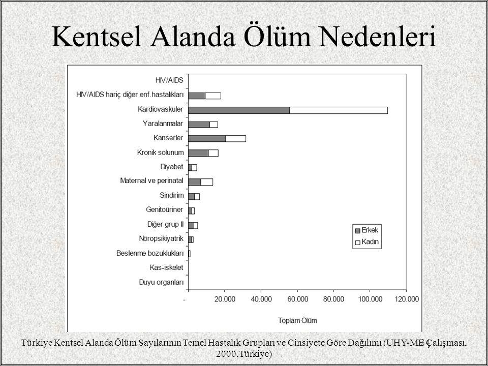 Kentsel Alanda Ölüm Nedenleri 34 Türkiye Kentsel Alanda Ölüm Sayılarının Temel Hastalık Grupları ve Cinsiyete Göre Dağılımı (UHY-ME Çalışması, 2000,Türkiye)