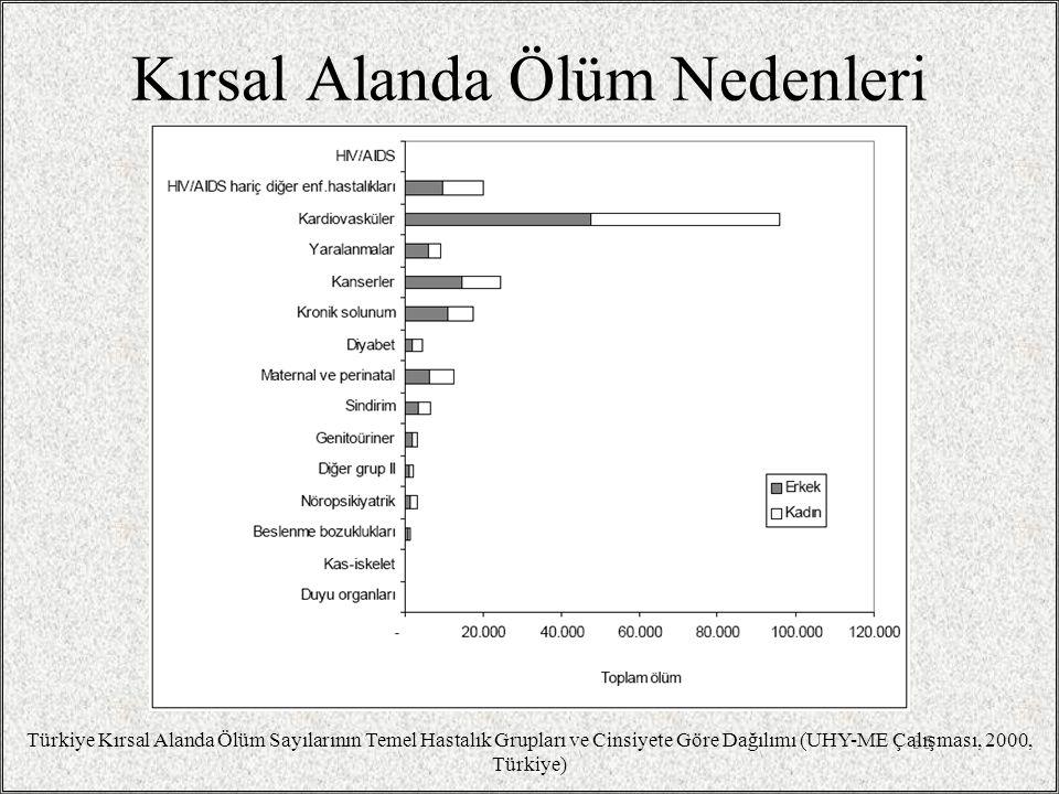 Kırsal Alanda Ölüm Nedenleri 35 Türkiye Kırsal Alanda Ölüm Sayılarının Temel Hastalık Grupları ve Cinsiyete Göre Dağılımı (UHY-ME Çalışması, 2000, Tür
