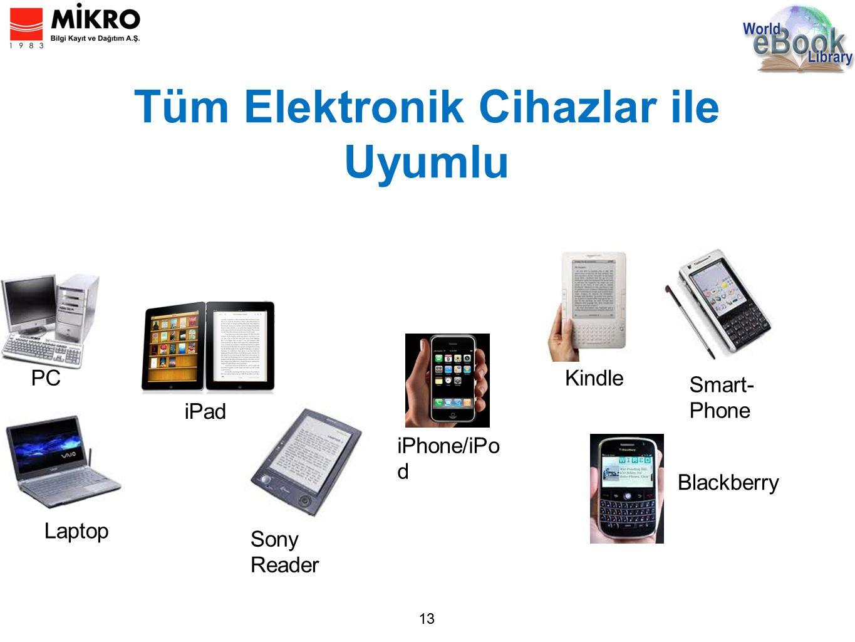 Tüm Elektronik Cihazlar ile Uyumlu 13 PC Laptop Sony Reader Kindle Smart- Phone Blackberry iPad iPhone/iPo d