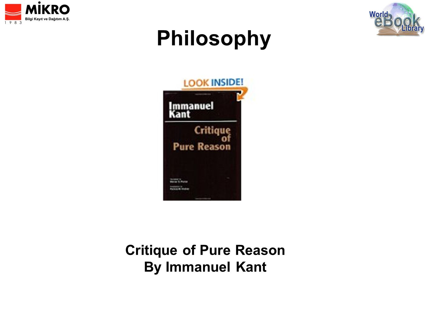 Philosophy Critique of Pure Reason By Immanuel Kant