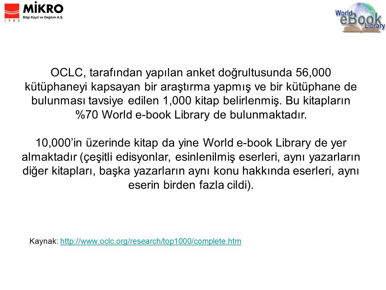 Kaynak: http://www.oclc.org/research/top1000/complete.htmhttp://www.oclc.org/research/top1000/complete.htm OCLC, tarafından yapılan anket doğrultusunda 56,000 kütüphaneyi kapsayan bir araştırma yapmış ve bir kütüphane de bulunması tavsiye edilen 1,000 kitap belirlenmiş.