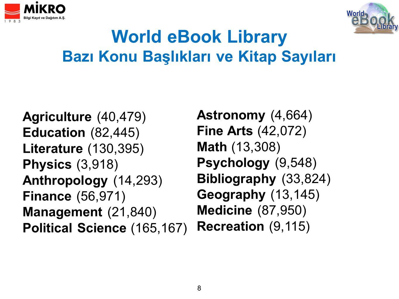 World eBook Library Bazı Konu Başlıkları ve Kitap Sayıları 8 Agriculture (40,479) Education (82,445) Literature (130,395) Physics (3,918) Anthropology (14,293) Finance (56,971) Management (21,840) Political Science (165,167) Astronomy (4,664) Fine Arts (42,072) Math (13,308) Psychology (9,548) Bibliography (33,824) Geography (13,145) Medicine (87,950) Recreation (9,115)