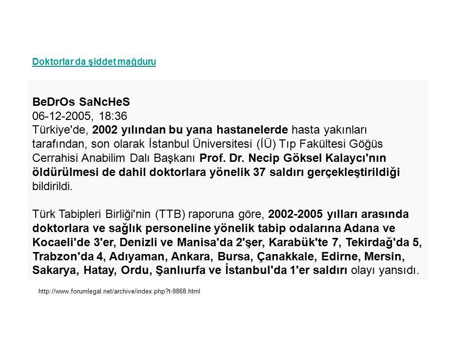 Doktorlar da şiddet mağduru BeDrOs SaNcHeS 06-12-2005, 18:36 Türkiye de, 2002 yılından bu yana hastanelerde hasta yakınları tarafından, son olarak İstanbul Üniversitesi (İÜ) Tıp Fakültesi Göğüs Cerrahisi Anabilim Dalı Başkanı Prof.