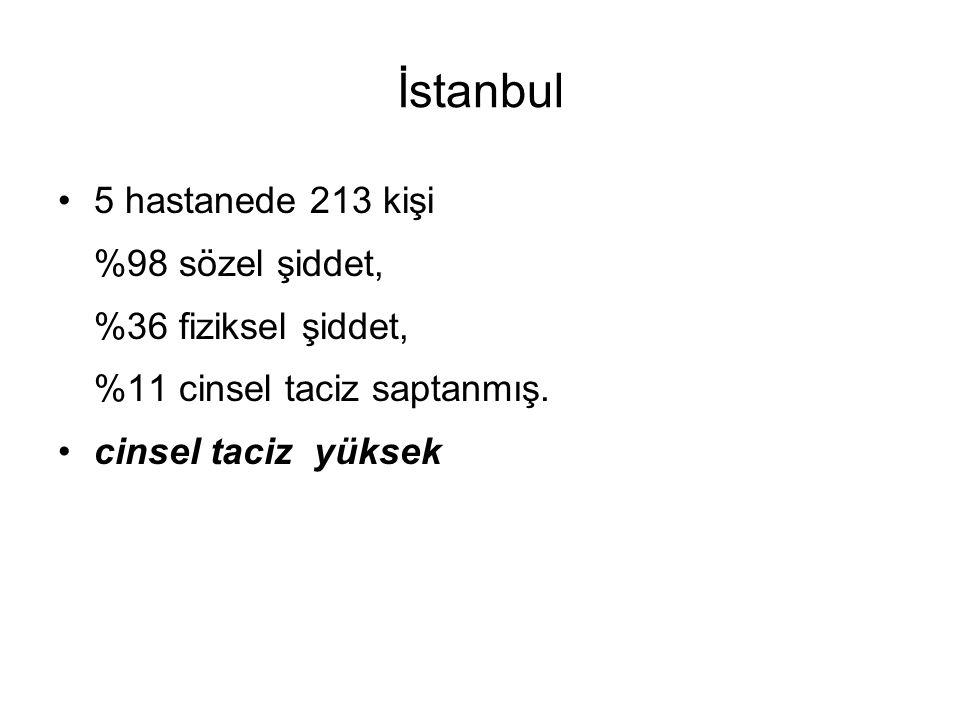 İstanbul 5 hastanede 213 kişi %98 sözel şiddet, %36 fiziksel şiddet, %11 cinsel taciz saptanmış. cinsel taciz yüksek