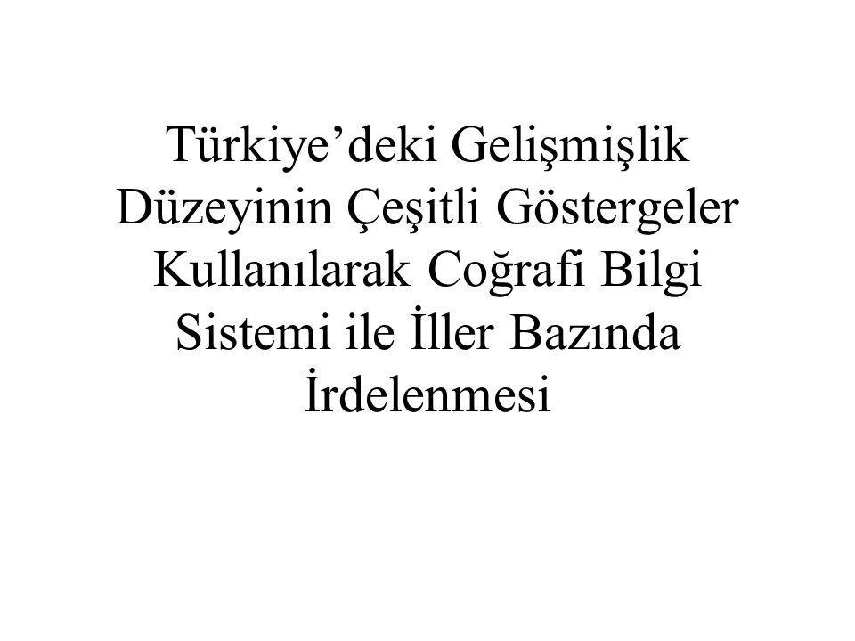 Türkiye'deki Gelişmişlik Düzeyinin Çeşitli Göstergeler Kullanılarak Coğrafi Bilgi Sistemi ile İller Bazında İrdelenmesi