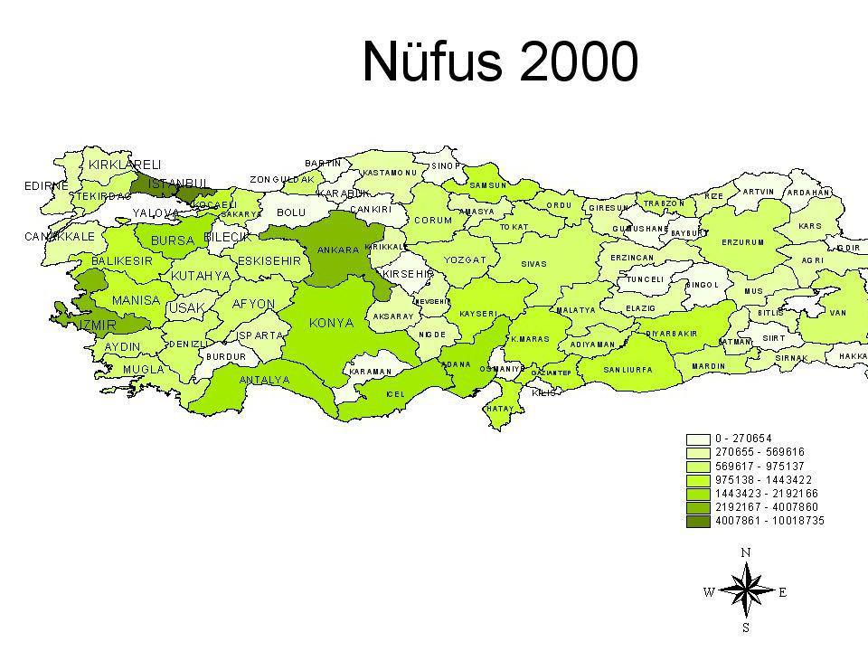 Hastane başına düşen nüfus batıya gittikçe azalmaktadır.Doğuda en yüksek olarak Mardin'de görülmektedir.Bunun yanı sıra Tunceli-Artvin illerinde ise hastane başına düşen nüfus diğer komşu illere göre çok daha az sayıdadır.