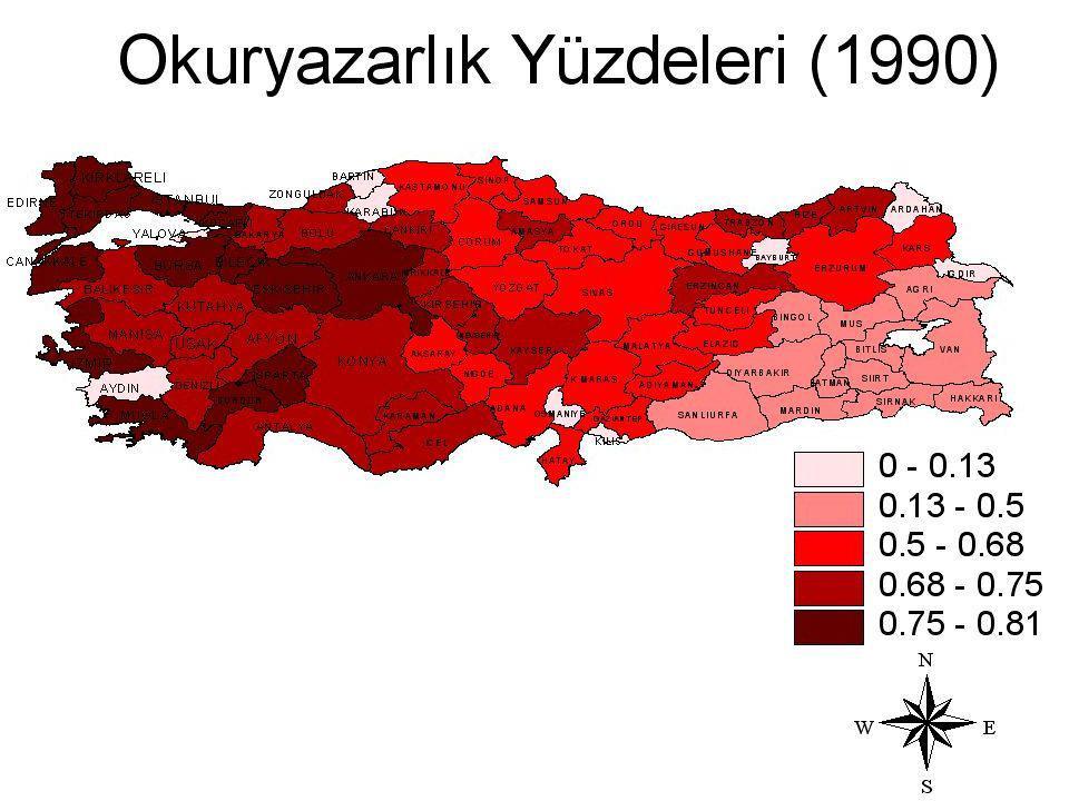 Gayri safi yurt içi hasıla illerin ekonomik gelişmişlik göstergesi olup, doğudan batıya artış gösterirken doğuda Erzurum belirgin bir şekilde ayrılmaktadır.