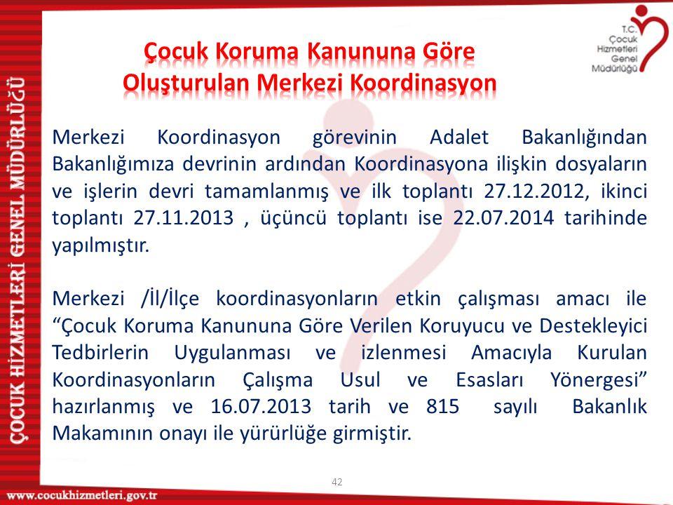 42 Merkezi Koordinasyon görevinin Adalet Bakanlığından Bakanlığımıza devrinin ardından Koordinasyona ilişkin dosyaların ve işlerin devri tamamlanmış v