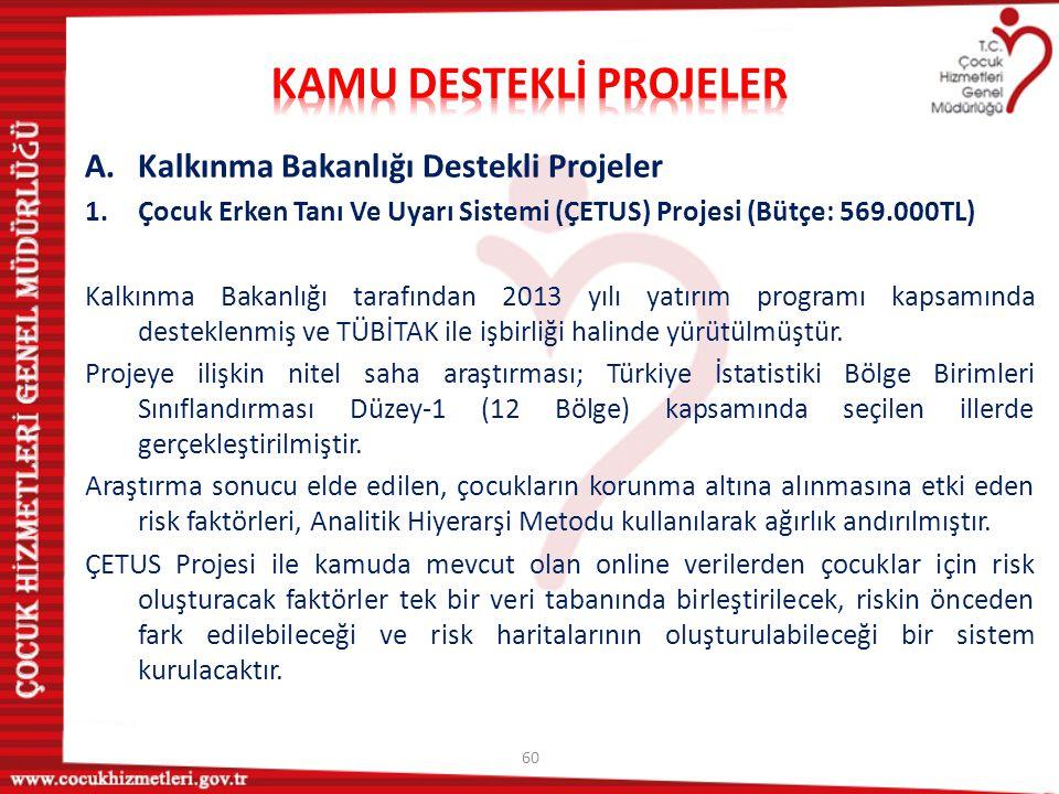 60 A.Kalkınma Bakanlığı Destekli Projeler 1.Çocuk Erken Tanı Ve Uyarı Sistemi (ÇETUS) Projesi (Bütçe: 569.000TL) Kalkınma Bakanlığı tarafından 2013 yı