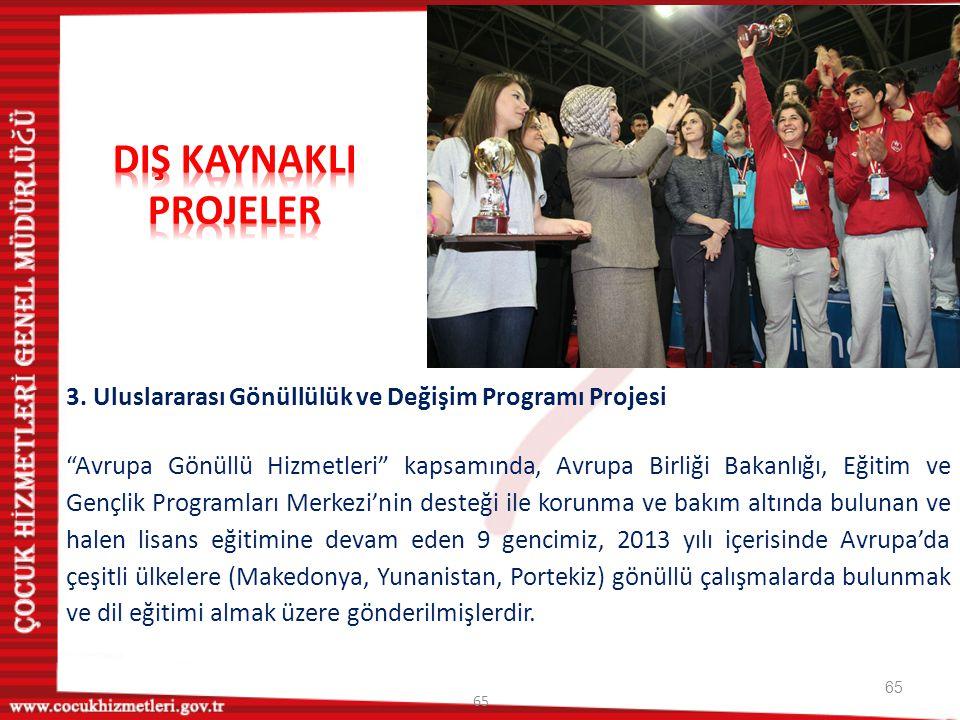 """65 3. Uluslararası Gönüllülük ve Değişim Programı Projesi """"Avrupa Gönüllü Hizmetleri"""" kapsamında, Avrupa Birliği Bakanlığı, Eğitim ve Gençlik Programl"""