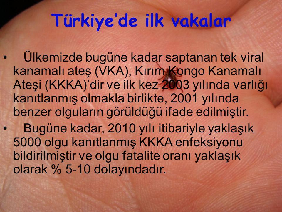 25 Türkiye'de ilk vakalar Ülkemizde bugüne kadar saptanan tek viral kanamalı ateş (VKA), Kırım Kongo Kanamalı Ateşi (KKKA)'dir ve ilk kez 2003 yılında