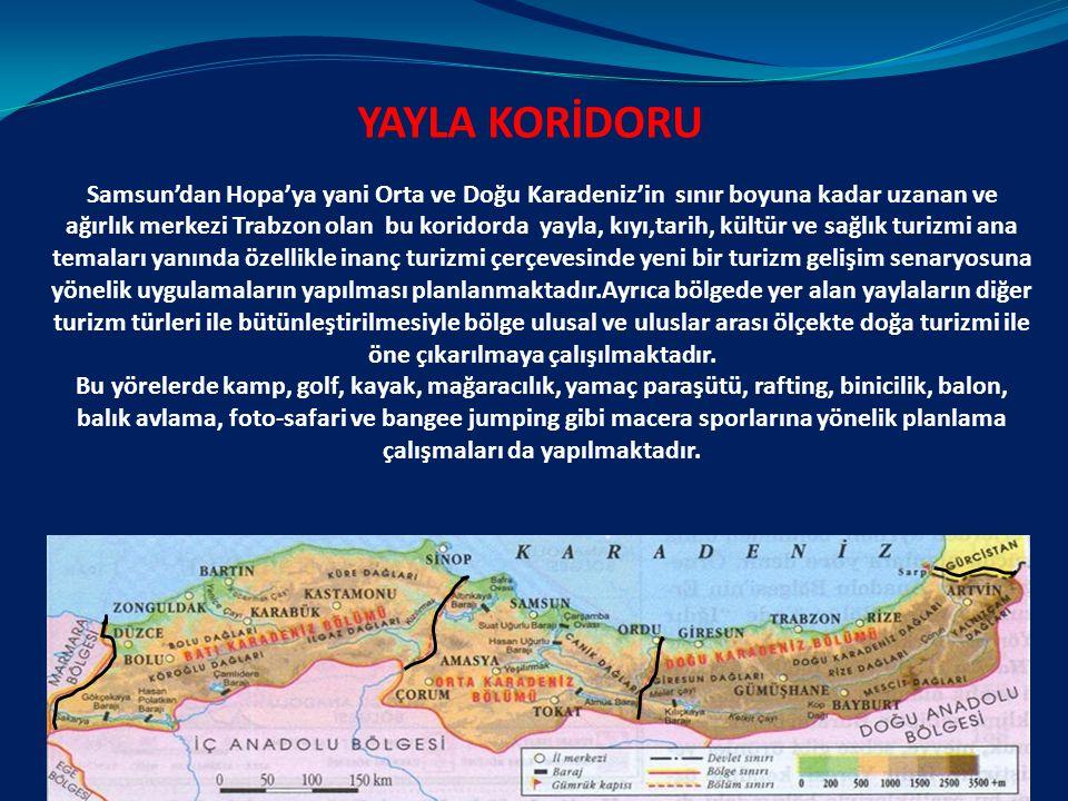 Samsun'dan Hopa'ya yani Orta ve Doğu Karadeniz'in sınır boyuna kadar uzanan ve ağırlık merkezi Trabzon olan bu koridorda yayla, kıyı,tarih, kültür ve