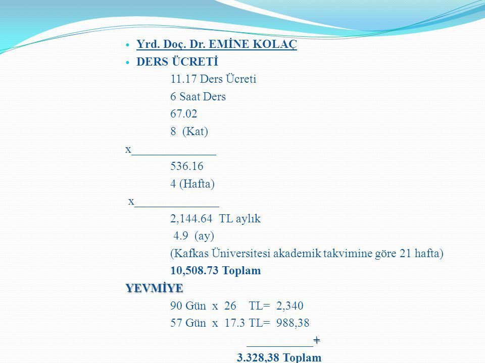 Yrd. Doç. Dr. EMİNE KOLAÇ DERS ÜCRETİ 11.17 Ders Ücreti 6 Saat Ders 67.02 8 (Kat) x______________ 536.16 4 (Hafta) x______________ 2,144.64 TL aylık 4