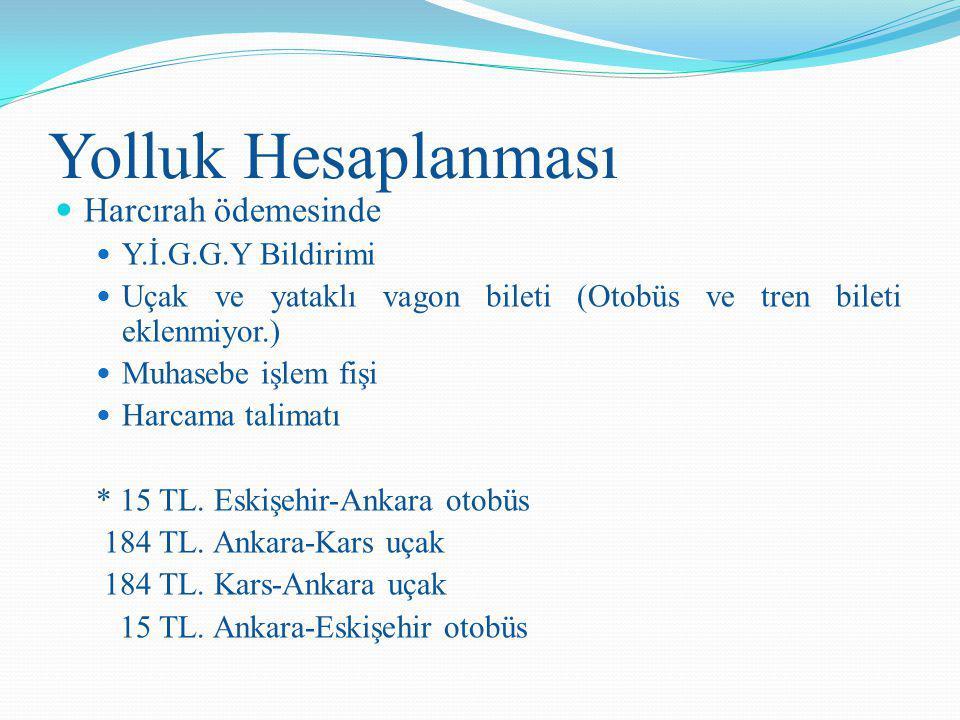Yolluk Hesaplanması Harcırah ödemesinde Y.İ.G.G.Y Bildirimi Uçak ve yataklı vagon bileti (Otobüs ve tren bileti eklenmiyor.) Muhasebe işlem fişi Harca