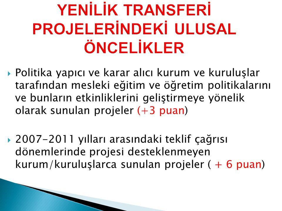  2007-2011 yılları arasındaki teklif çağrısı dönemlerinde projesi desteklenmeyen illerden gelen projeler ( +6 puan).