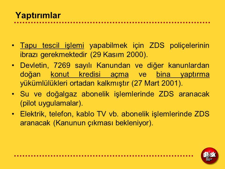 Yaptırımlar Tapu tescil işlemi yapabilmek için ZDS poliçelerinin ibrazı gerekmektedir (29 Kasım 2000). Devletin, 7269 sayılı Kanundan ve diğer kanunla