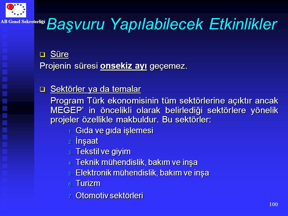 AB Genel Sekreterliği 100 Başvuru Yapılabilecek Etkinlikler  Süre Projenin süresi onsekiz ayı geçemez.  Sektörler ya da temalar Program Türk ekonomi